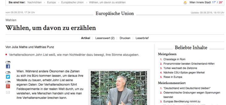 """Interview mit John List in der Wiener Zeitung: """"Wählen, um davon zu erzählen"""""""
