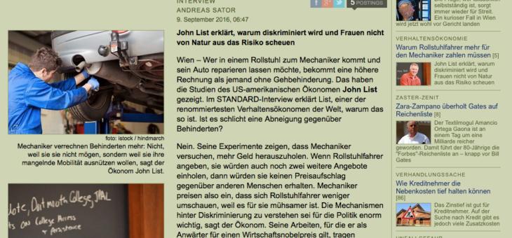 """Interview mit John List im Standard: """"Warum Rollstuhlfahrer mehr für den Mechaniker zahlen müssen"""""""