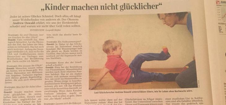 """VBEN-Speaker Andrew Oswald im """"Standard"""": """"Kinder machen nicht glücklicher"""""""